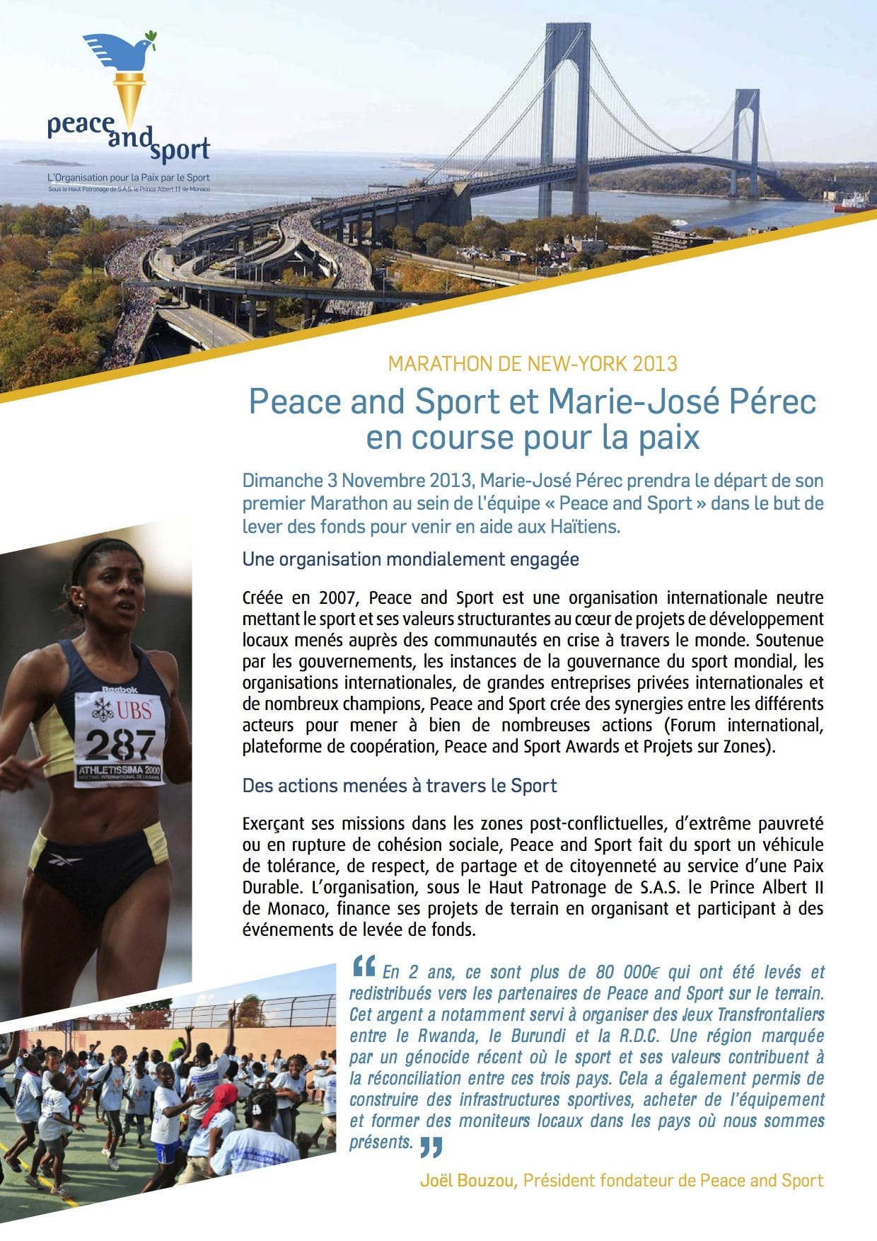 Peace And Sport - Marie-José Perec:NY - Oct13