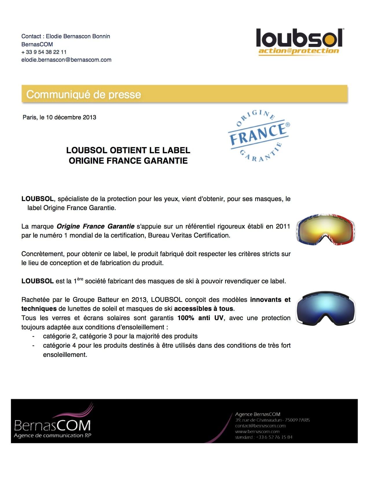 LOUBSOL - CP Origine France Garantie