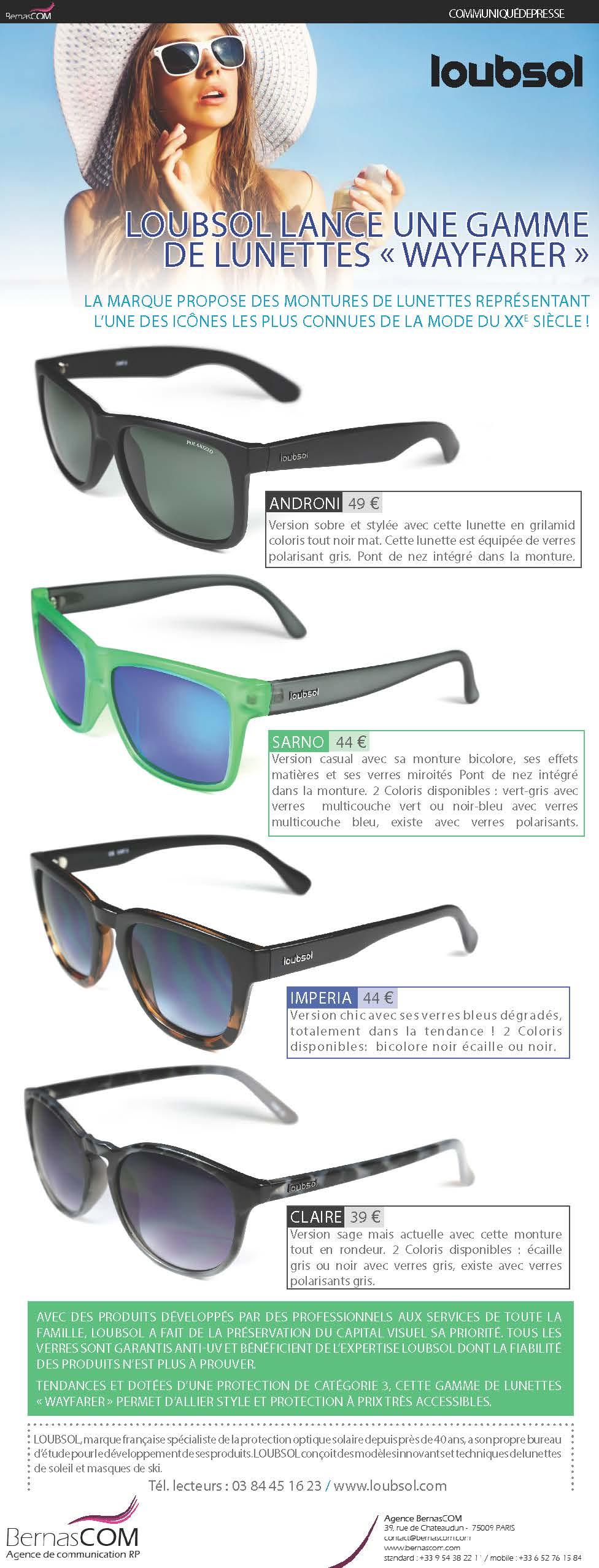 4c5d80d48762e3 Loubsol   une gamme de lunettes homme femme de style Wayfarer ...