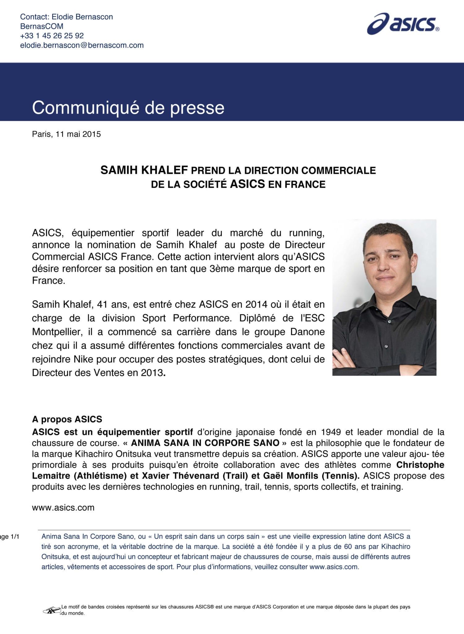 ASICS_CP Annonce Directeur Commercial