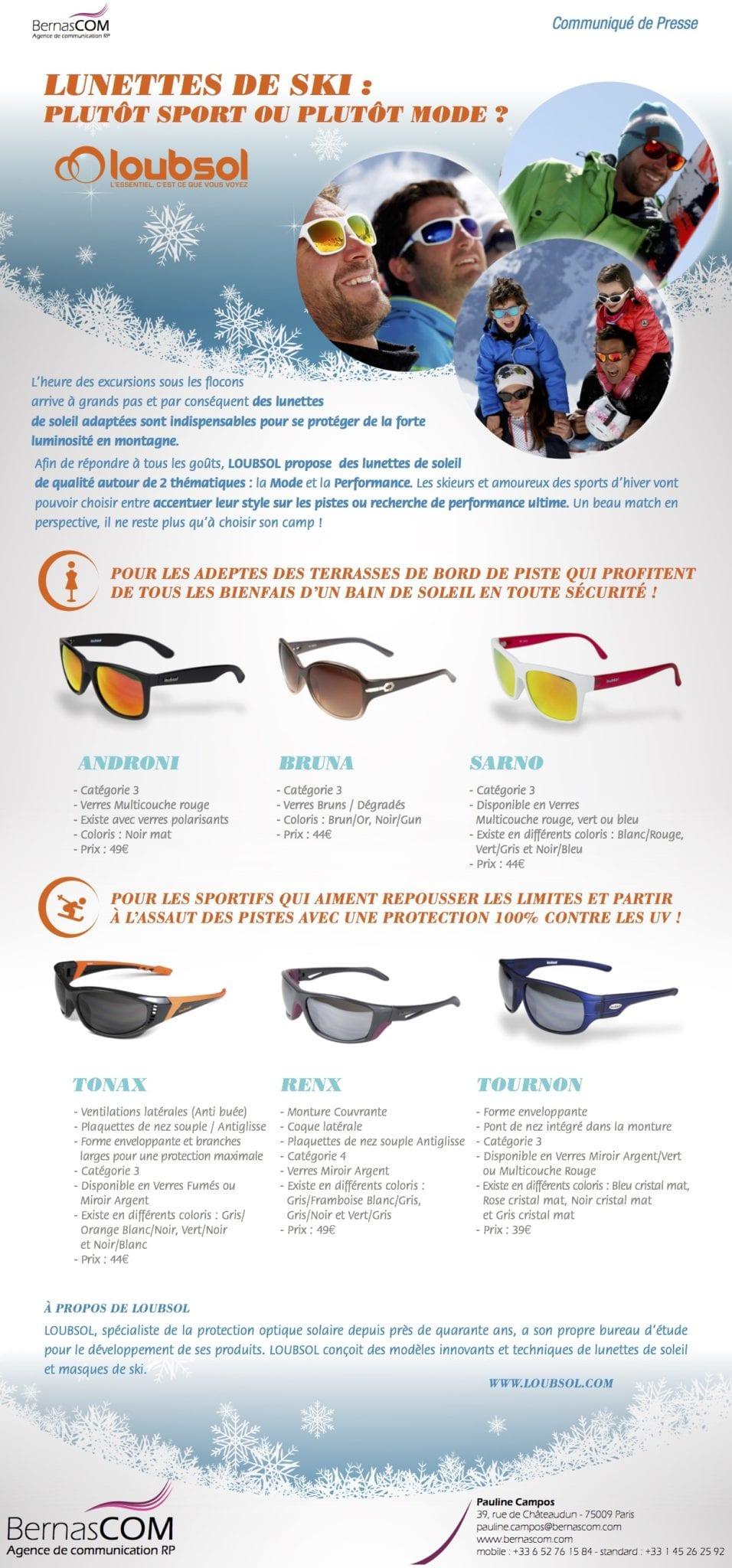 30044591aaad59 Les lunettes de ski Loubsol, entre sport et mode ! - Bernascom