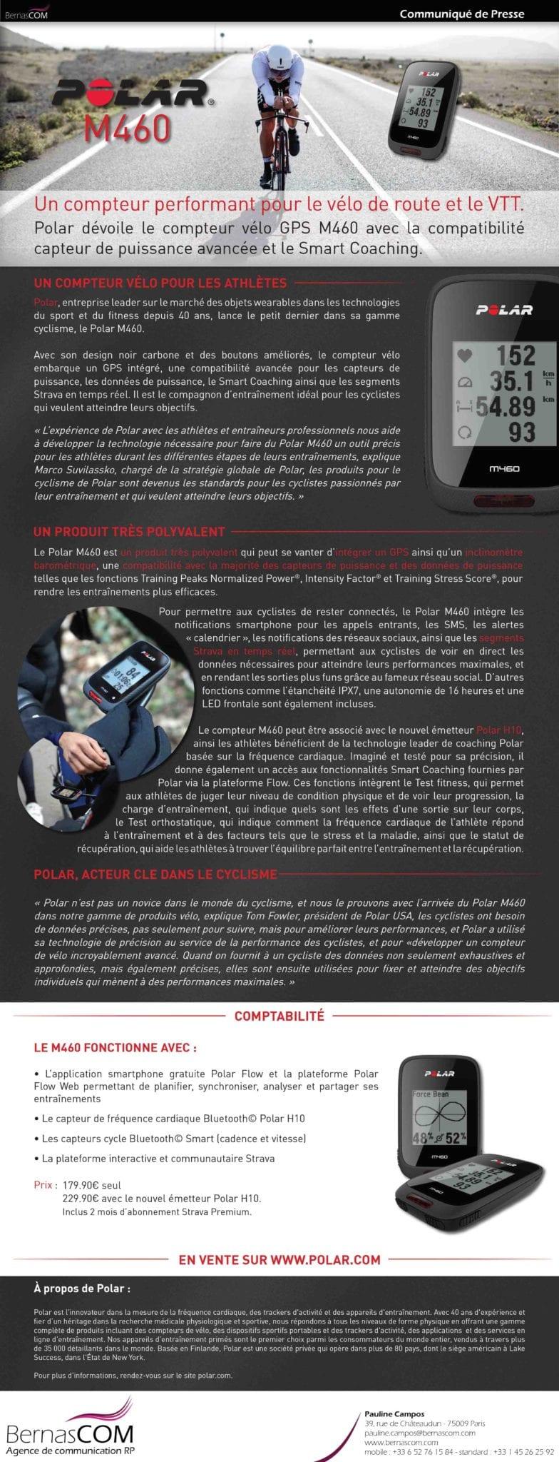 Polar GPS velo M460 Communiqué de presse