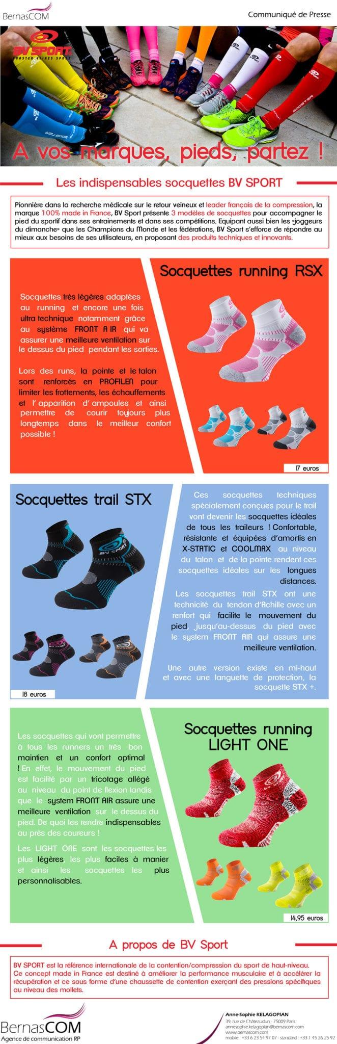 Communiqué de presse BV Sport socquettes de running chaussettes